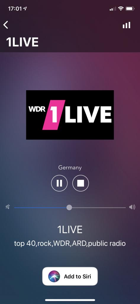 Siri Shortcuts radio stations